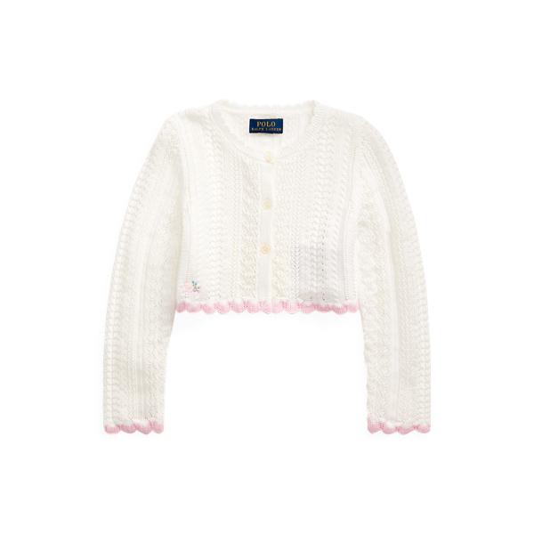 폴로 랄프로렌 Polo Ralph Lauren Cropped Cotton Cardigan,Trophy Cream