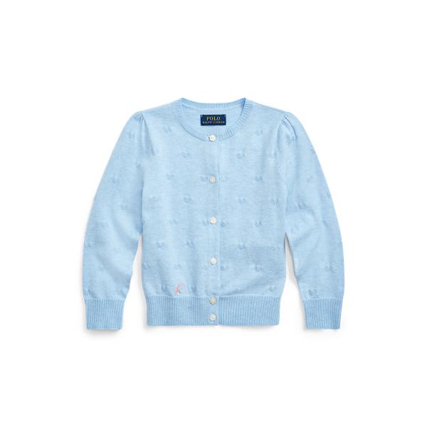 폴로 랄프로렌 Polo Ralph Lauren Knit-Heart Cotton Cardigan,Light Blue Heather