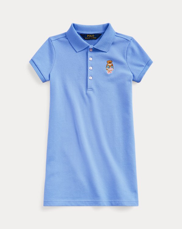 폴로 랄프로렌 여아용 폴로 원피스 Polo Ralph Lauren Madras Bear Mesh Polo Dress,Harbor Island Blue