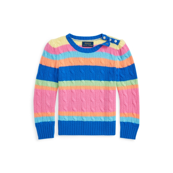 폴로 랄프로렌 Polo Ralph Lauren Striped Cashmere Sweater,Pink Multi