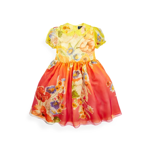 폴로 랄프로렌 여아용 원피스 Polo Ralph Lauren Floral Silk Organza Dress,Orange Multi