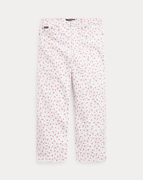 Geblümte 3/4-Jeans mit weitem Bein