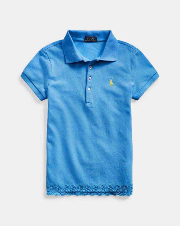 폴로 랄프로렌 Polo Ralph Lauren Lace-Hem Stretch Mesh Polo,Harbor Island Blue