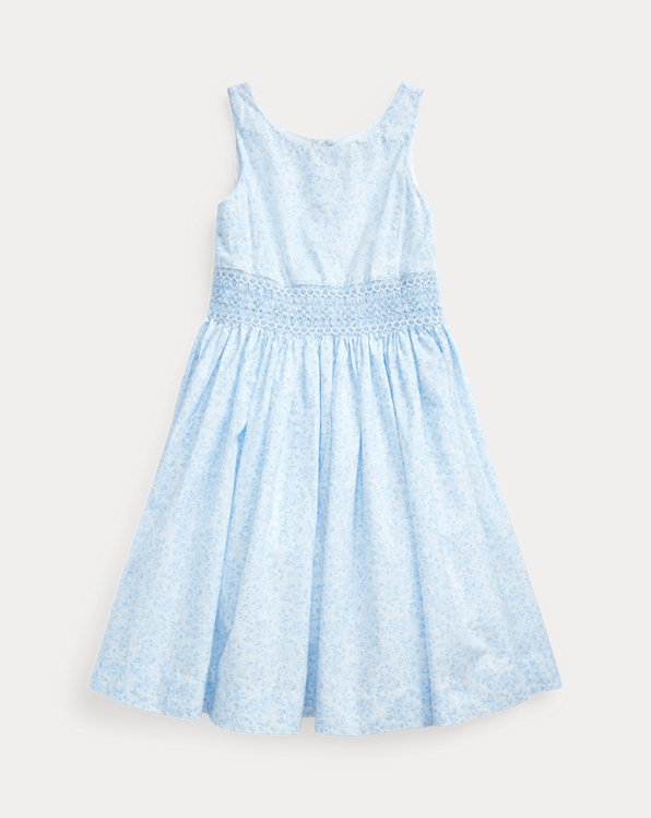 Smocked Floral Cotton Dress
