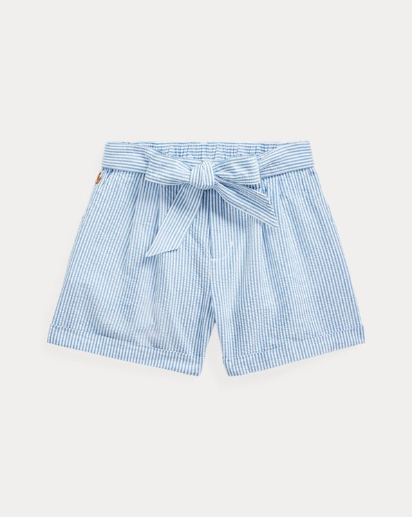 Belted Cotton Seersucker Short