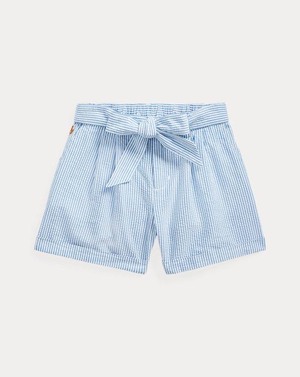 Shorts aus Baumwollseersucker mit Gürtel
