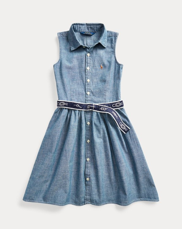 Chemisier in chambray con cintura