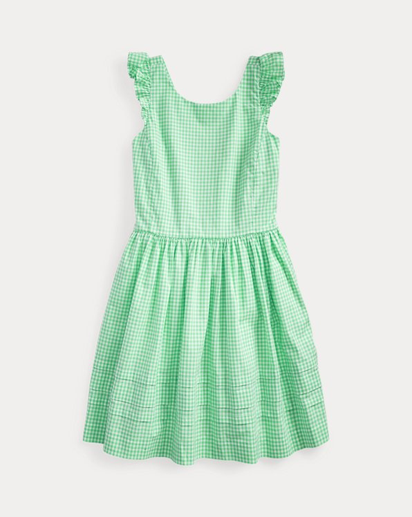Gingham Cotton Poplin Dress