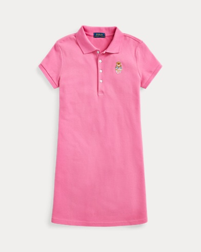 폴로 랄프로렌 Polo Ralph Lauren Madras Bear Mesh Polo Dress,Baja Pink