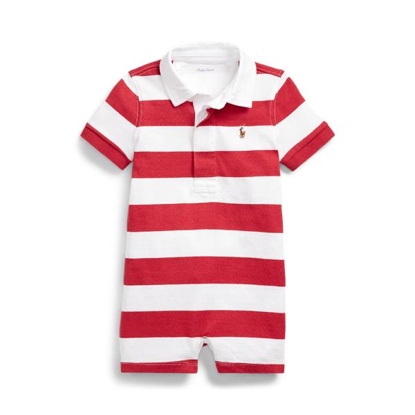 폴로 랄프로렌 Polo Ralph Lauren Striped Cotton Rugby Shortall,Sunrise Red Multi