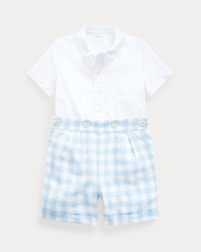 Shirt & Gingham Short Set