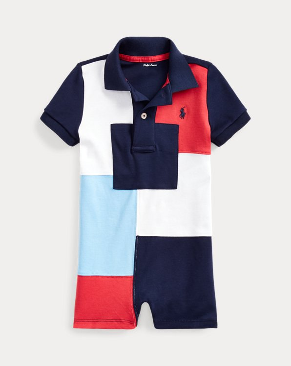 Tutina polo patchwork in cotone