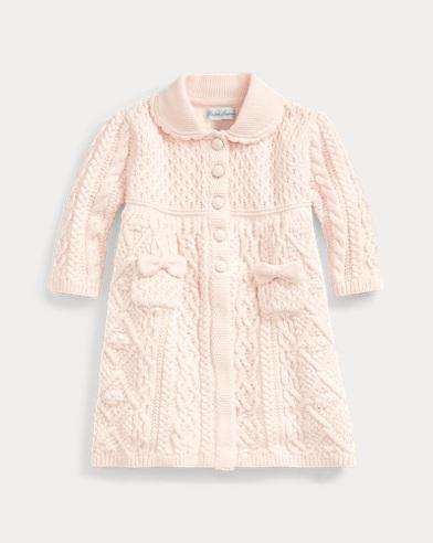 Contrast-Knit Sweater Coat