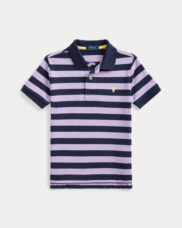 Striped Cotton Mesh Polo Shirt