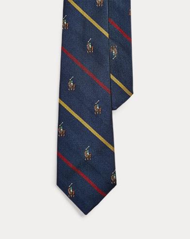 Striped Polo Player Silk Tie