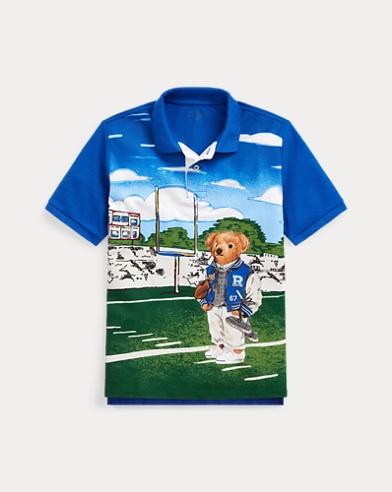 Football Bear Cotton Mesh Polo