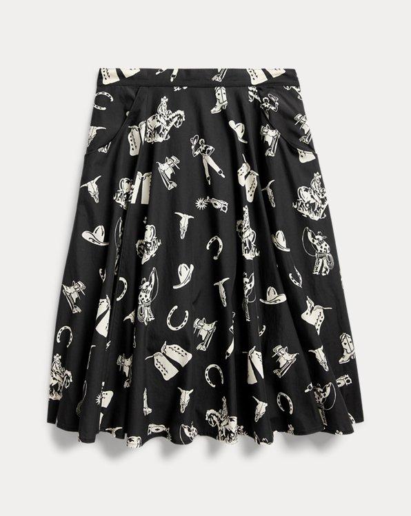 Western-Print Flared Skirt