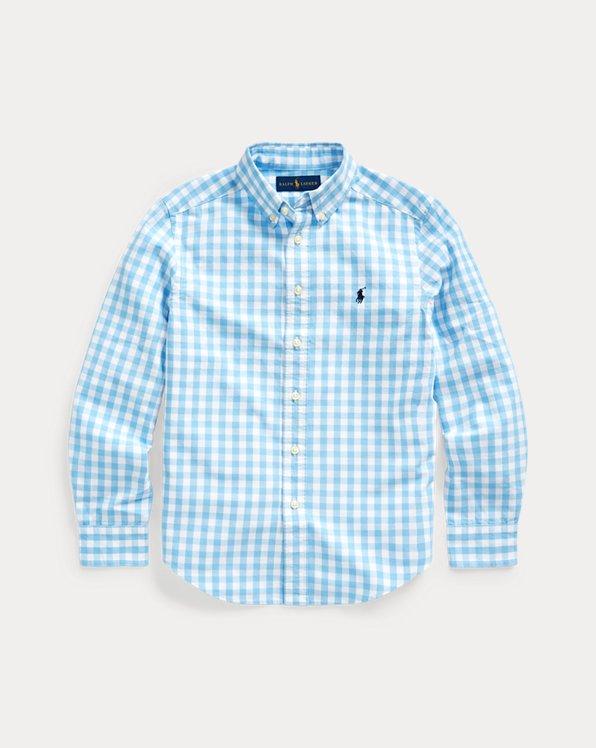Camisa en mezcla de algodón con cuadros vichy