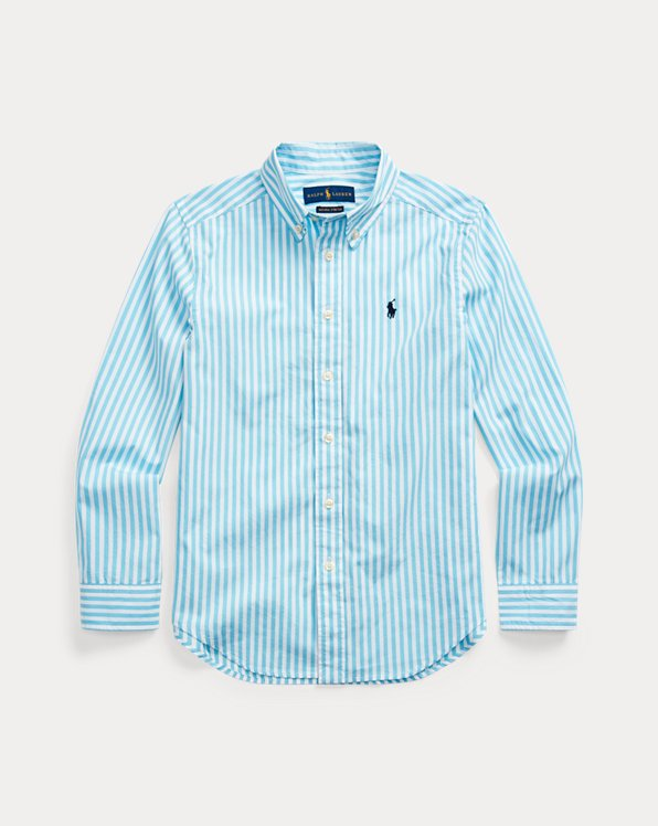 폴로 랄프로렌 보이즈 셔츠 Polo Ralph Lauren Striped Cotton Poplin Shirt,Neptune