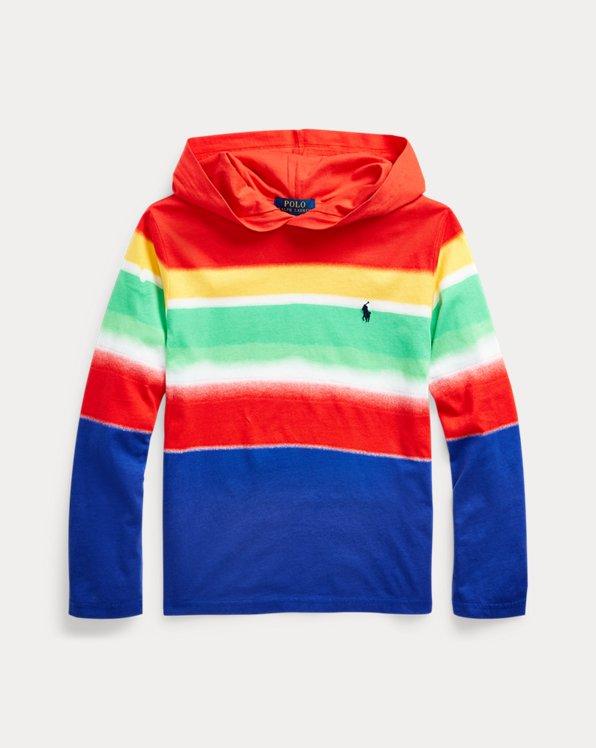 Camiseta con capucha de algodón a rayas