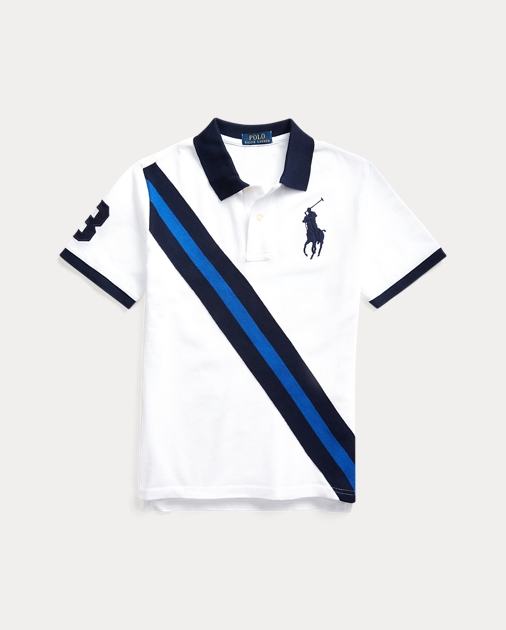 Ralph Lauren Girls Banner-Stripe Rugby Polo Shirt 6