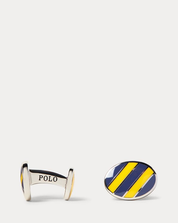 Striped Enamel Cuff Links