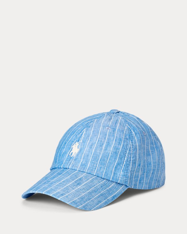 Striped Linen Ball Cap