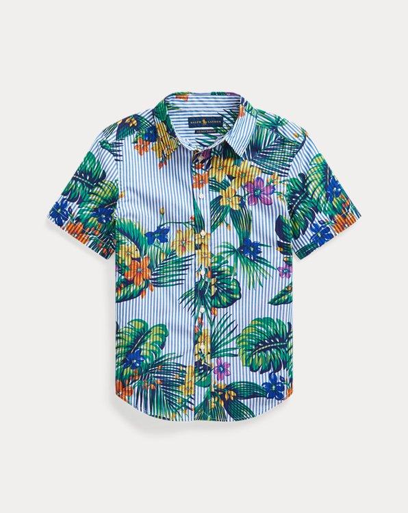 Chemise en coton rayé à fleurs