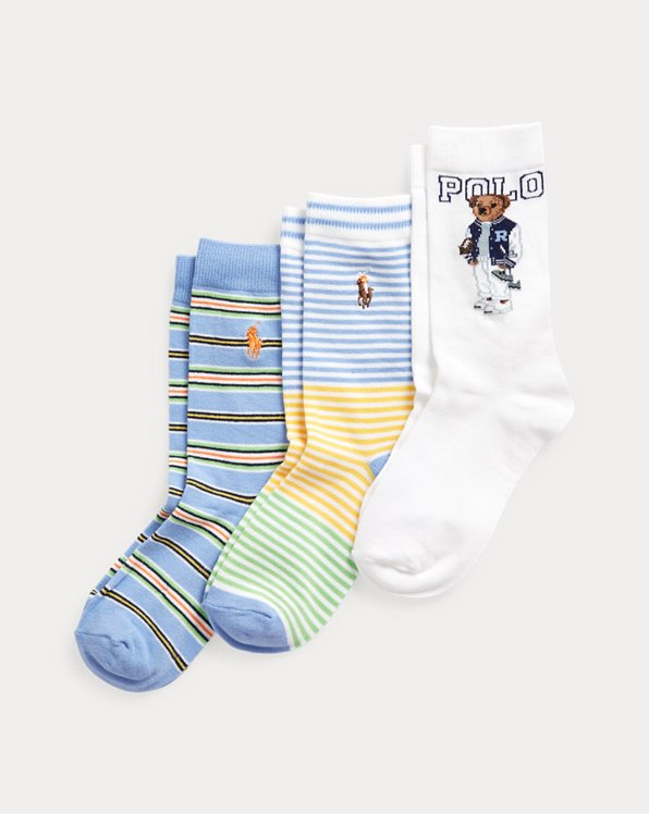 3er-Pack Socken mit Football Bear