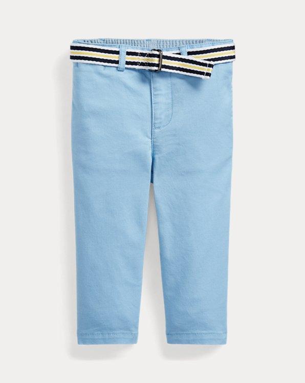 Pantalón chino de algodón elástico con cinturón