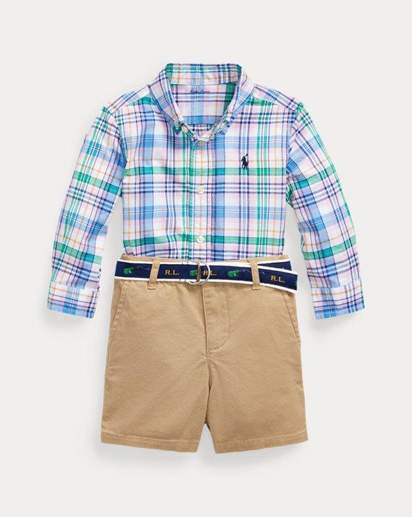Plaid Shirt, Belt & Short Set
