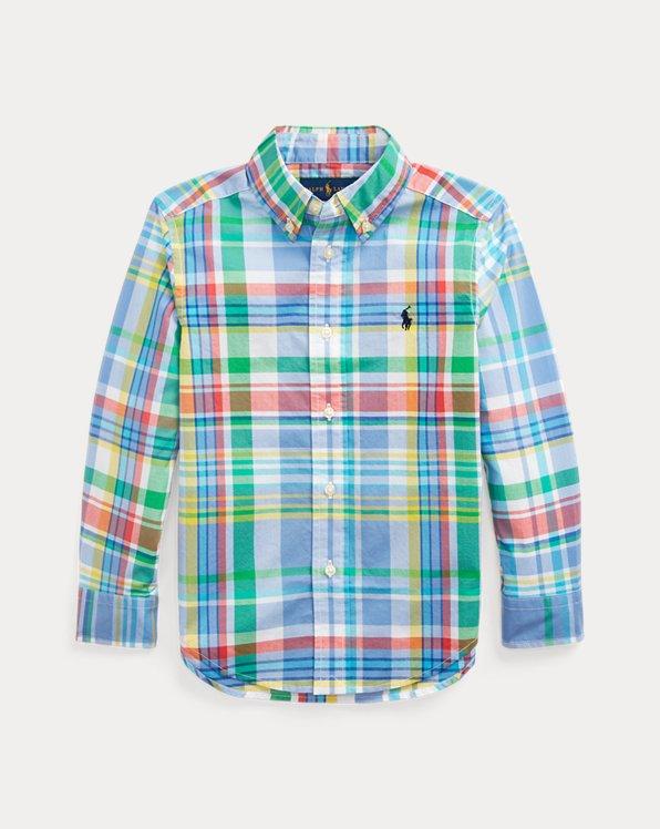 Camicia scozzese in popeline di cotone