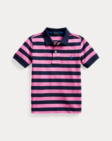 Striped Cotton Mesh Polo Shirt