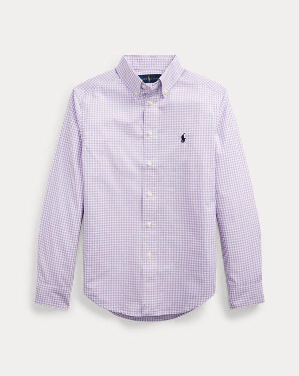 Camisa en popelina de algodónacuadros vichy