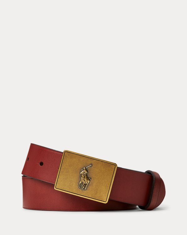 PRL Leather-Trim Cotton Belt