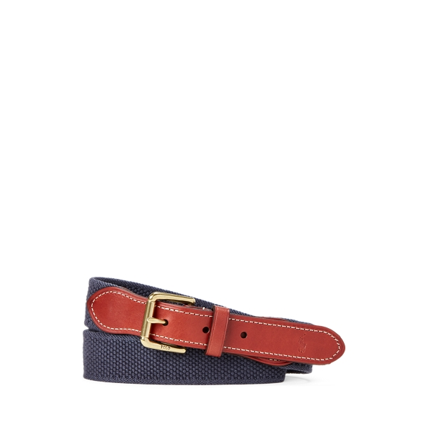폴로 랄프로렌 보이즈 벨트 Polo Ralph Lauren Leather-Trim Cotton Belt,Navy