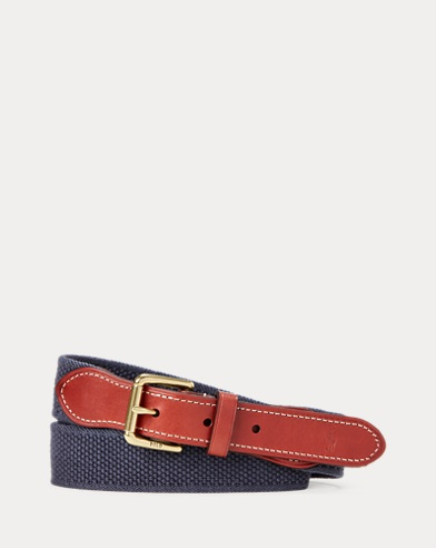 Leather-Trim Cotton Belt