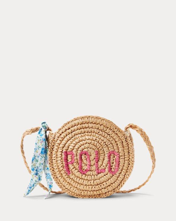 Logo Raffia Crossbody Bag