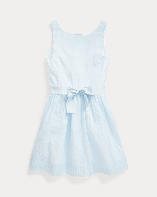 Windowpane Cotton-Blend Dress
