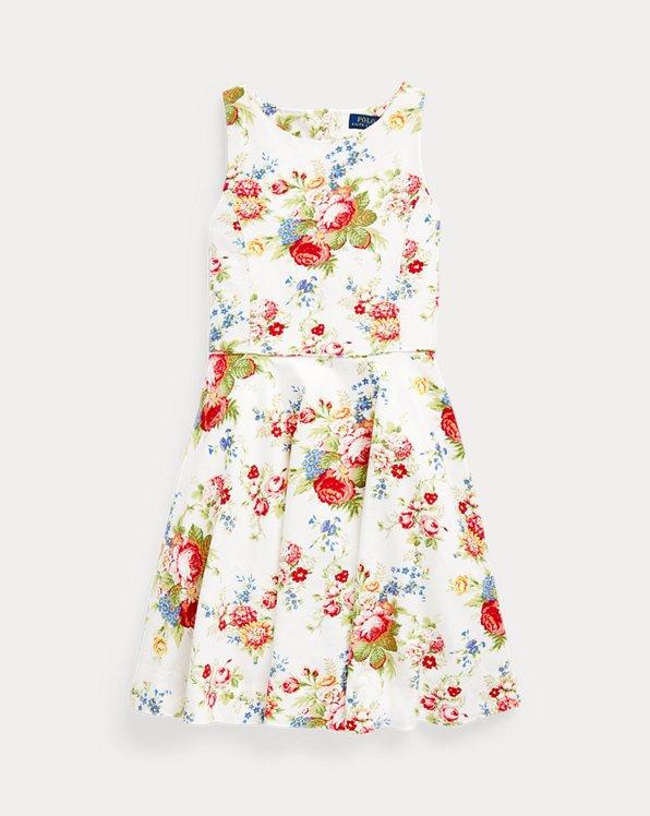 Vestido de flores en Oxford de algodón