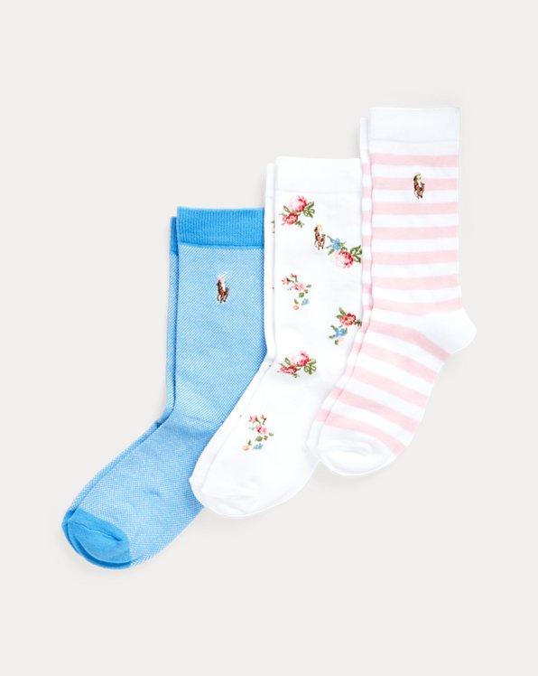 3er-Pack Socken mit Blumen und Streifen