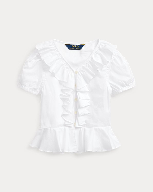 Ruffled Cotton Oxford Top