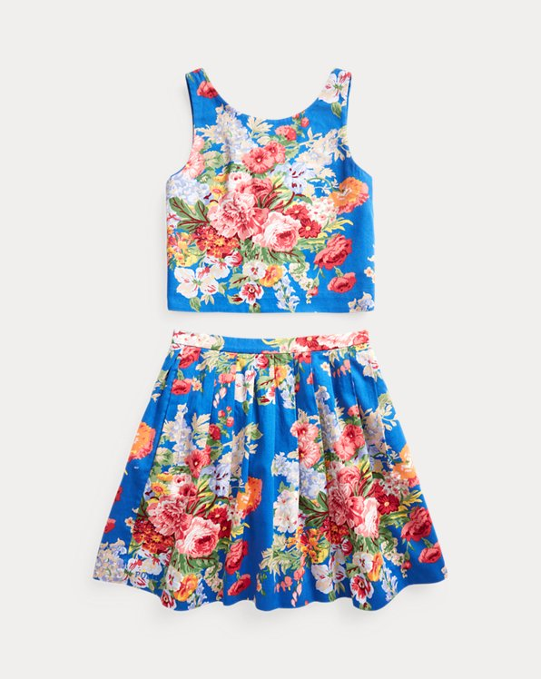 Floral Cotton Top & Skirt Set