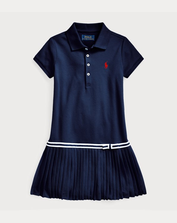 Pleated Mesh Polo Dress