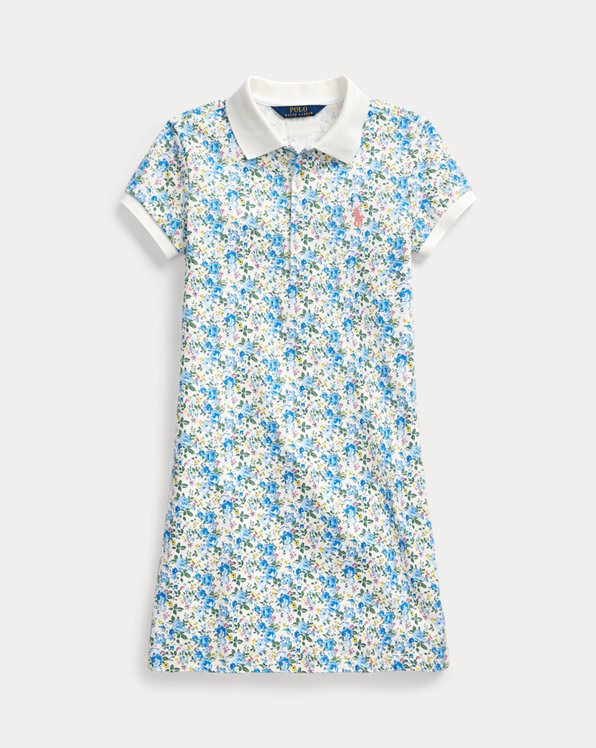 폴로 랄프로렌 Polo Ralph Lauren Floral Stretch Mesh Polo Dress,Blue Floral