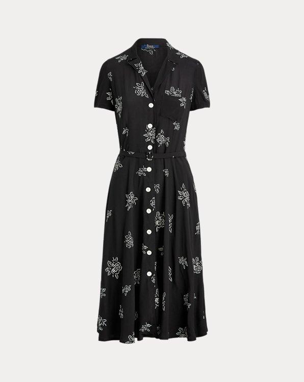 Rose-Print Midi Dress