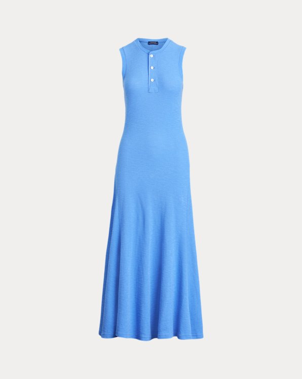 Sleeveless Cotton Henley Dress