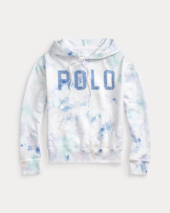 Sudadera polar con capucha con tie-dye