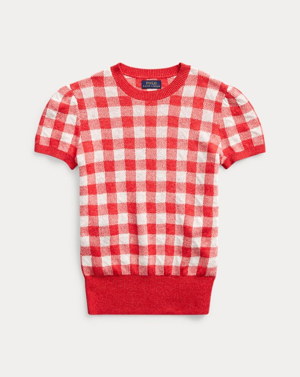 Gingham Short-Sleeve Jumper