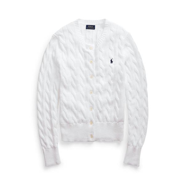 폴로 랄프로렌 Polo Ralph Lauren Cable Knit Cotton Cardigan,White